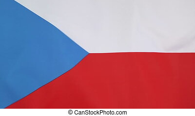 Flag of Czech Republic,slow motion - Textile flag of Czech...