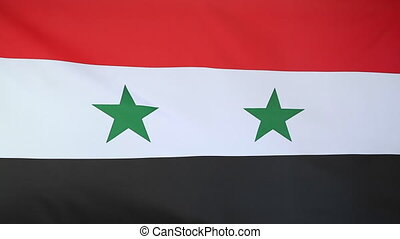 Flag of Syria - Textile flag of Syria moving in the wind
