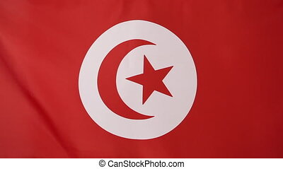 Tunisian flag in slow motion