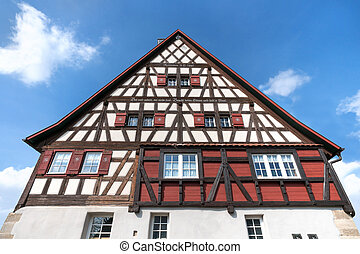 Swabian half-timbered house - Upper part of an old,...