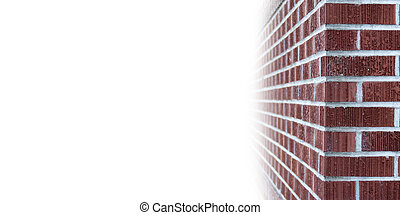 Brick wall copyspace - The corner of a brick wall with white...
