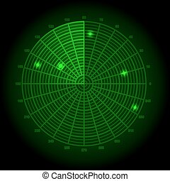 Green radar screen. Vector illustration.