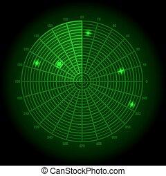 Green radar screen. Vector illustra