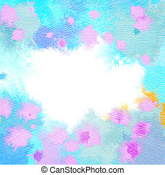 Abstract watercolor flowers frame. Abstract colorful digital art painting.