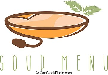 soup menu vector design template with leaf and bowl