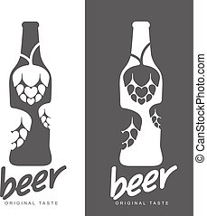 Set beer logos, simple gray labels - Beer icons, vector...