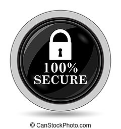100 percent secure icon Internet button on white background...