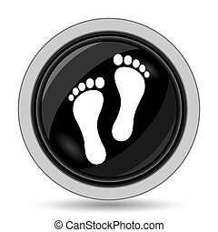 Foot print icon. Internet button on white background.