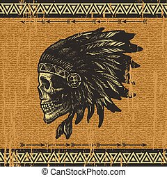 skull indian chief hand drawing style vector illustration