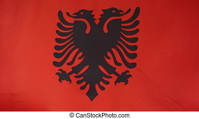 Flag of Albania in slow motion - Flag of Albania moving in...