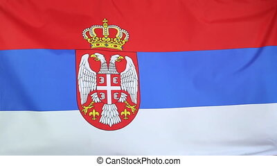Serbian national flag,slow motion - Serbian national flag in...