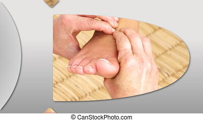 Montage of a woman enjoying a foot massage in a Spa