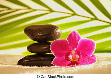 Stones tower with brown massage stones ,orchid,palm leaf on...
