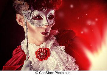 vampire masquerade - Handsome vampire wearing venetian mask....