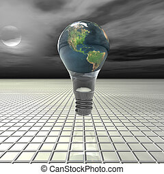 electrical light bulb on metal background with reflection