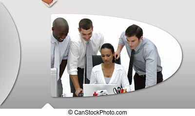 Montage presenting confident business people at work in high...