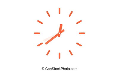 Clock moving time fast full day cycles pulsing face. Digital...