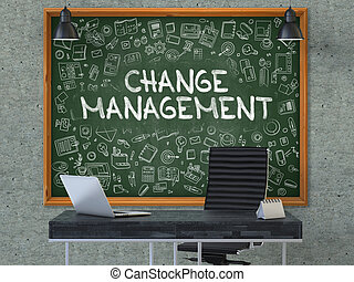 Change Management on Chalkboard in the Office - Green...