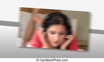 Montage on young woman listening music with headphones at...