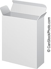 White Software Cardboard, Carton Package Box Open On White Background Isolated. Mock Up Template Ready For Your Design. Product Packing Vector EPS10