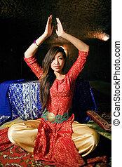 bonito, jovem, hight, Asiático, mulher, em, fada,...