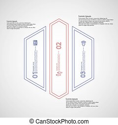 Hexagon Illustration infographic template divided to three...