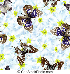 baterflay flowers - seamless pattern with butterflies,...
