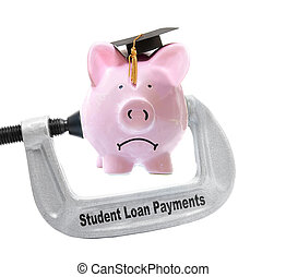 student loan payments piggybank vice - Frowning piggy bank...