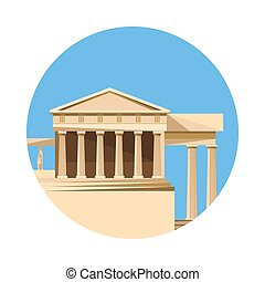 Greek parthenon icon isolated on white background Vector...