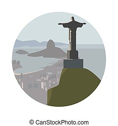 Christ the Redeemer icon isolated on white background Vector...