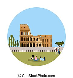 Colosseum icon isolated on white background. Vector...