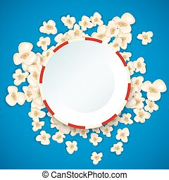 Heap popcorn for movie lies on blue background.