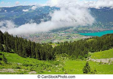 Mountain landscape of Swiss Alps.
