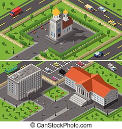 Church State Edifice Isometric 2 Banners - Provincial town...