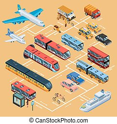 Transport Infographics Isometric Layout - Transport...
