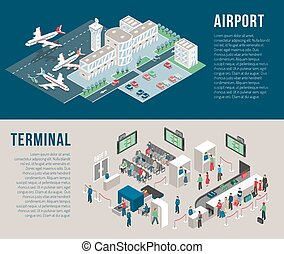 Airport Isometric Horizontal Banners - Airport isometric...