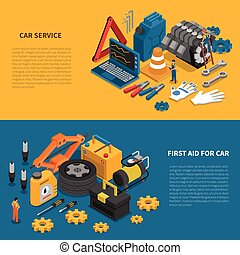 Car Service Tools Isometric Banner Set - Tools isometric...