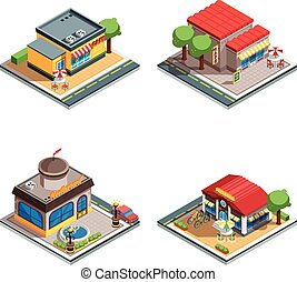 Cafe Isometric Icons Set - Colorful cafe restaurant pizzeria...