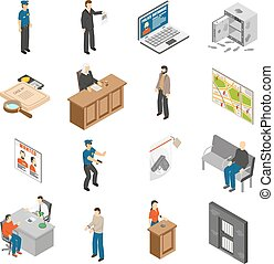 Justice And Law Isometric Icons Set - Justice and law...