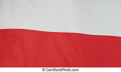 Flag of Poland in slow motion - Textile national flag of...