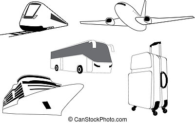 travel set - vector illustration of a travel set