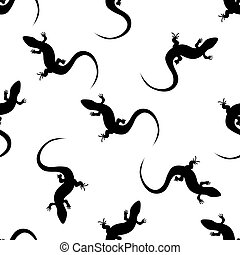 vector seamless backgrounds with salamanders. monochrome pattern with lizards.