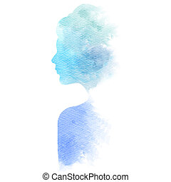 Double exposure illustration. Woman silhouette plus abstract...