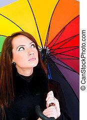 肖像, 婦女, 傘, 年輕
