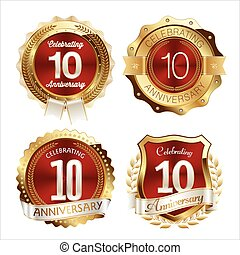 Gold and Red Anniversary badges - Set of Gold and Red...