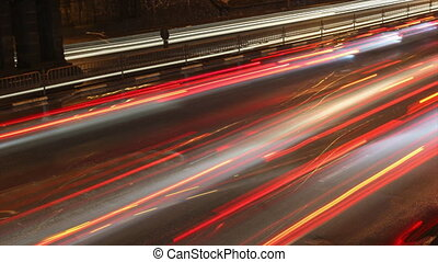Night traffic timelapse. - Night traffic in winter time...