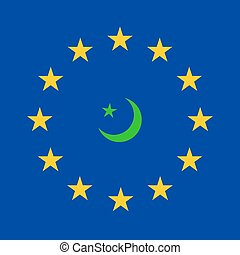 Islam - flag of European Union and symbol of Islam