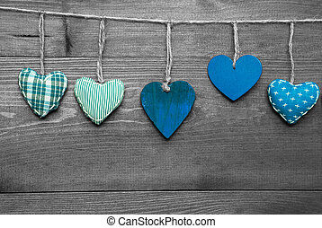 Loving Greeting Card With Turquoise Hearts - Wooden...