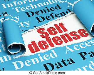 Safety concept: red text Self Defense under the piece of...