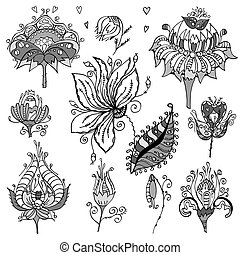 Set of floral bouquets, retro flowers. Vector illustration....